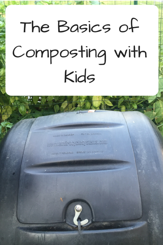 The Basics of Composting with Kids. Want to start composting but don't know where to start? Involve your kids in the process and learn the basics of composting! (Photo: Black composter in front of a basil plant.)