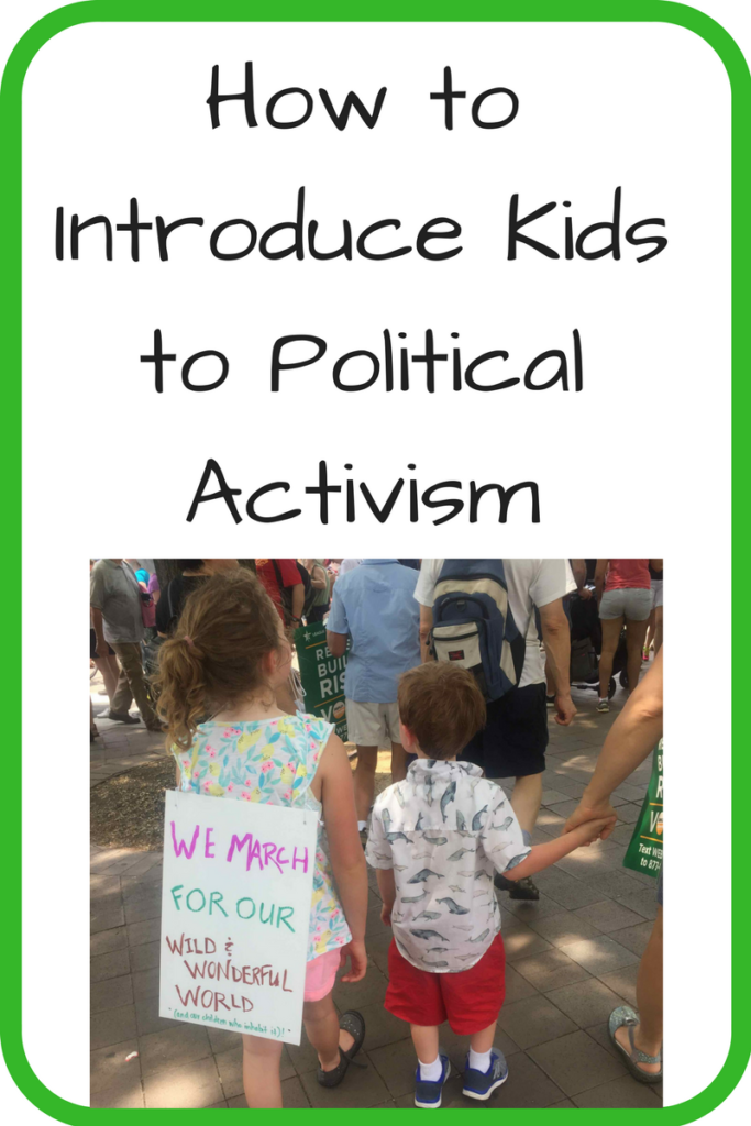How to Introduce Kids to Political Activism. With all of the talk of activism, what's the best way to introduce the ideas to children? (Photo: Two kids walking next to each other; one has a sign on her back that reads 'We march for our wild and wonderful world.')
