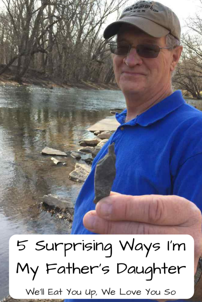 5 Surprising Ways in Which I'm My Father's Daughter; Photo: Man in baseball cap holding a sharp stone in front of a river