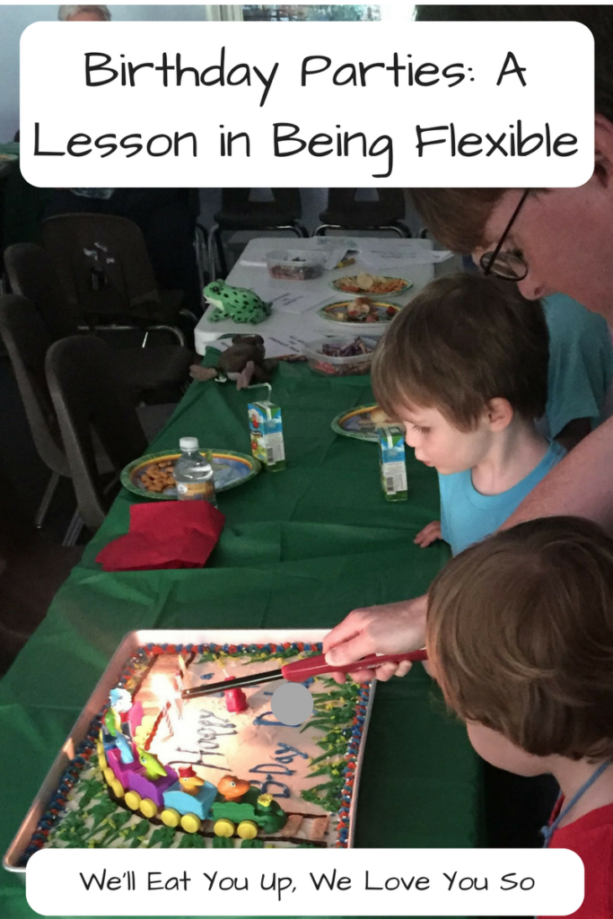 Birthday Parties: Learning to be Flexible as a Mom; My son's fourth birthday was stressful as hell. And yet I learned a lot about adapting to unexpected circumstances. (Photo: Kid blowing out candles on a birthday cake as a man lights them.)