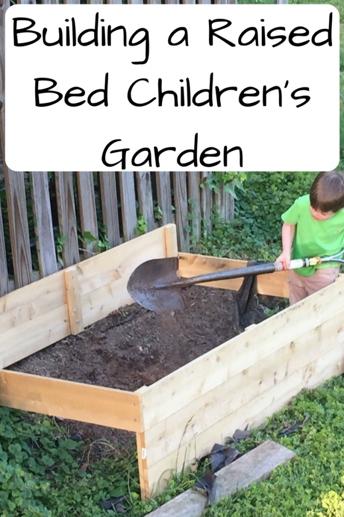 How We Built a Raised Bed Children's Garden for Our Young Kids. Want your kids to have somewhere to dig and plant flowers? Here's how we build a raised bed to accommodate them. (Photo: Boy with a giant shovel digging in a large wooden box.)