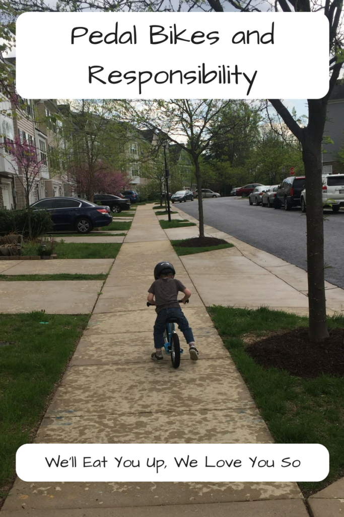 Pedal Bikes and Responsibility. Moving from a balance bike to a pedal bike is a big jump. Was my four-year-old ready for it? (Photo: A kid riding down a sidewalk on a balance bike.)