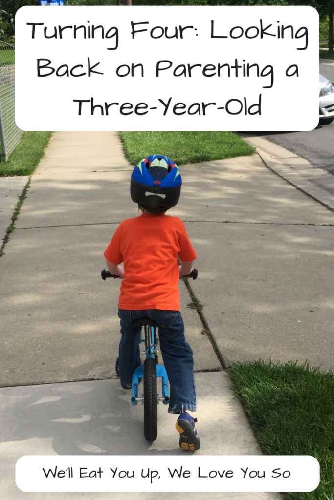 Turning Four: Looking Back on Parenting a Three-Year-Old; From the emotional outbursts of threenagers to the joys of independence, three is a tough but awesome age for kids and parents alike. (Photo: Boy riding away on a balance bike on a sidewalk.)