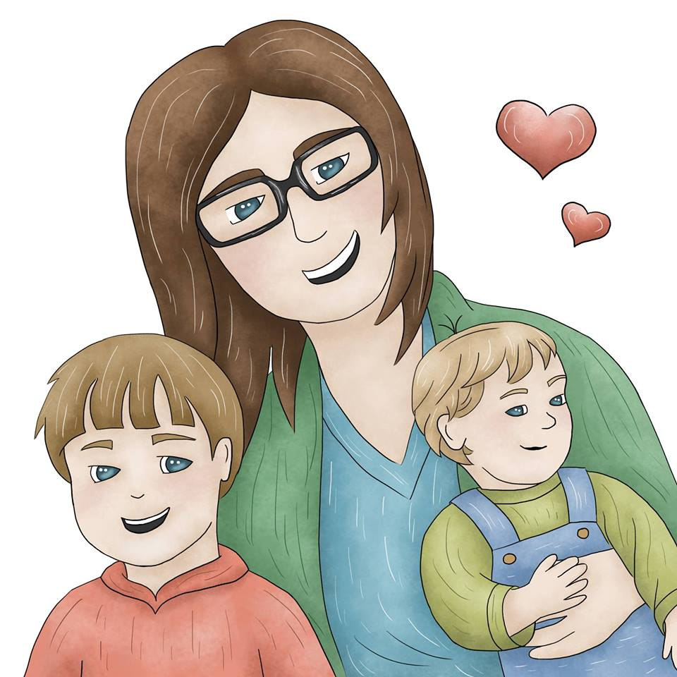 Cartoon of woman with brown hair hugging two boys