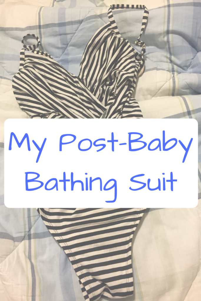 My Post-Baby Bathing Suit. When I was looking for a bathing suit after my second son was born, I was actually looking for so much more. (Photo: Black and white striped bathing suit on a checked comforter.)