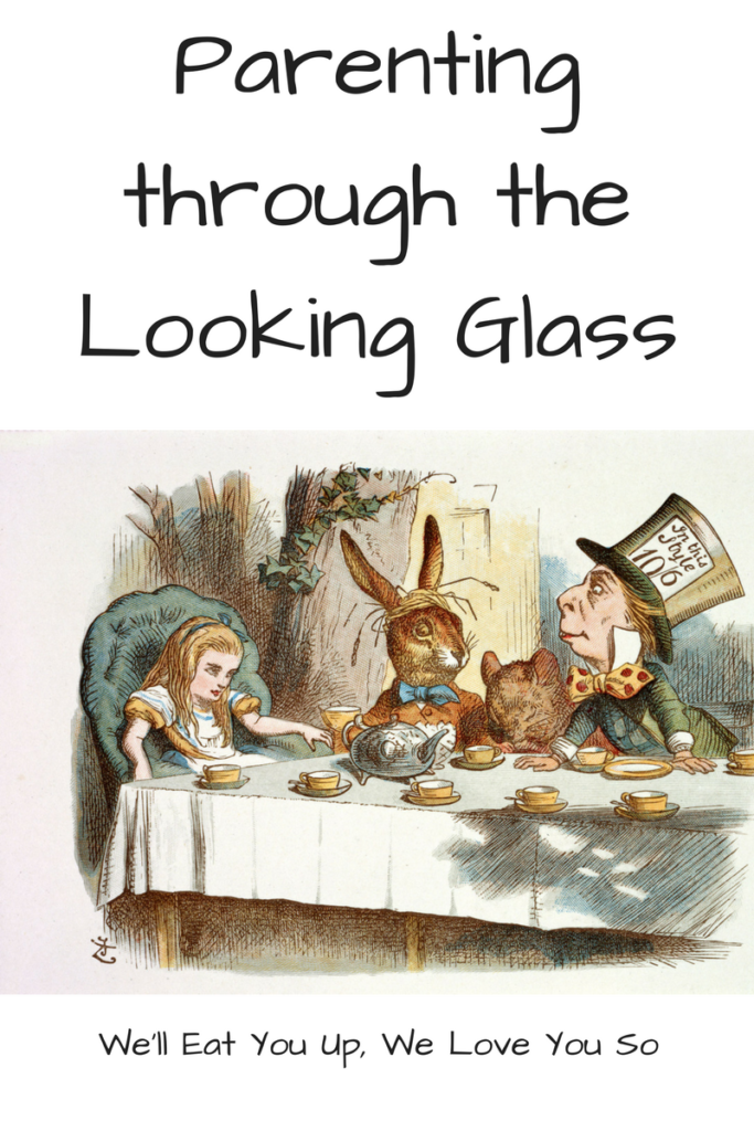 Parenting through the Looking Glass. What an adaptation of Alice in Wonderland taught me about adulthood, childhood, and parenting. (Picture: Illustration from Alice in Wonderland of Alice, the White Rabbit, and the Mad Hatter at the tea party.)