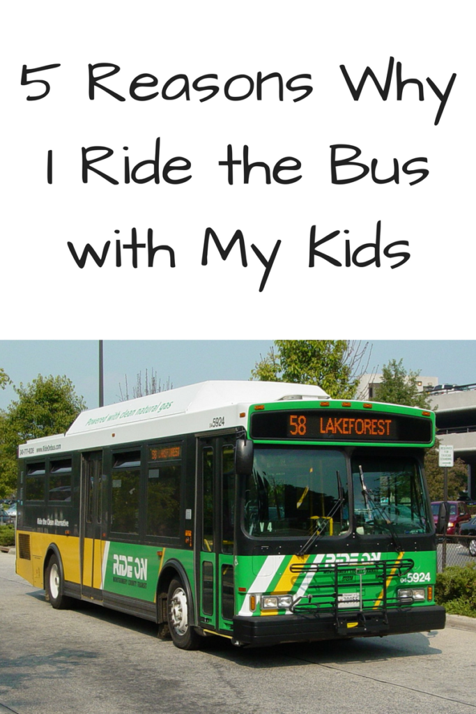 5 Reasons Why I Ride the Bus with My Kids. Riding the bus is more fun, more interactive, and more sustainable than the car! (Photo: Green and yellow RideOn bus driving down the street)