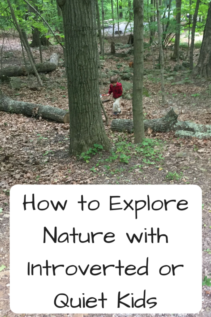 "How to Explore Nature with Introverted or Quiet Kids. Do you want to spend a lot of time outside with your kid but they aren't the adventurous or ""wild"" type? Here's how to make the most of it for both of you! (Photo: Child in red jacket walking in a forest)"