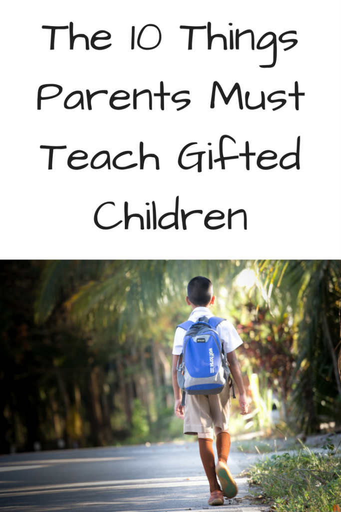 The 10 Things Parents Must Teach Gifted Children. Are you the parent of a gifted child and wondering what they need to know? Here's 10 things that you need to teach them to be successful. (Photo: A boy with a blue backpack walking away down a road.)