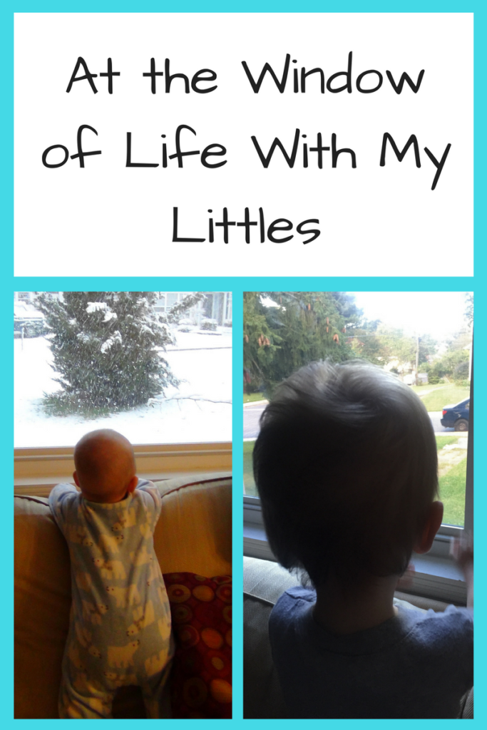 At the Window of Life with My Littles. (Photo: Two photos of children looking out the window from the back.)
