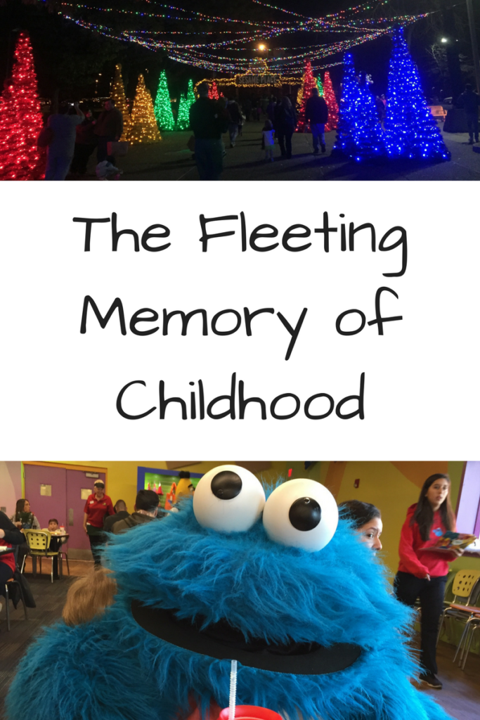 The Fleeting Memory of Childhood. What happens when your child forgets a memory you shared? (Photos - Above, Christmas lights at the entrance to Sesame Place; bottom: Giant cookie monster