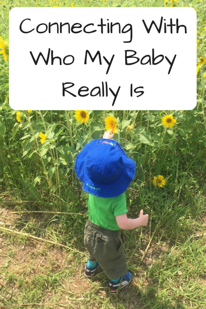 Connecting With Who My Baby Really Is (Photo: Small child standing in a field, touching a sunflower)
