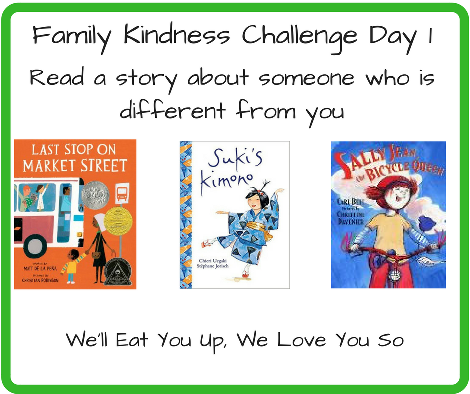 Family Kindness Challenge Day 1: Read a Story About Someone Who is Different from You; Photo: Covers of the books Last Stop on Market Street, Suki's Kimono, and Sally Jean the Bicycle Queen