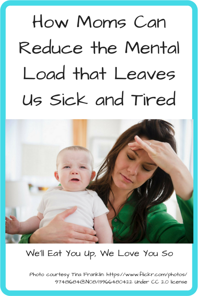 How Moms Can Reduce the Mental Load and Emotional Labor that Leaves Us Sick and Tired. (Photo: White woman holding her head with one hand and a crying baby with the other.)
