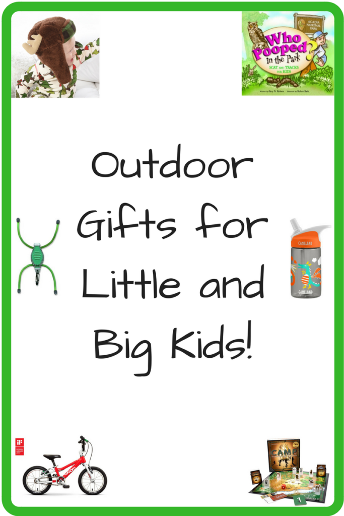 Outdoor Gifts for the Little and Big Kids in Your Life! (Photo: White child in a hat with moose antlers, Who Pooped in the Park? book cover, plastic bug light, water bottle, children's bike, and Camp game display(