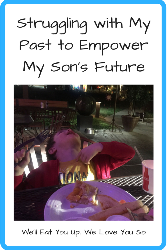 Struggling with My Past to Empower My Son's Future (Photo: White boy throwing his head back in front of a plate of food.)
