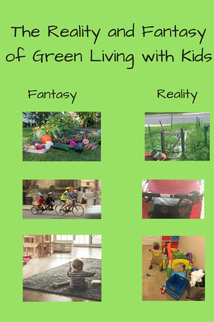 The Reality and Fantasy of Green Living (Photographs: - set of three - Upper left-hand corner, very neat arrangement of produce; upper right - photo of the overgrown garden, Giant cargo bike holding two children and also not interested in learning.